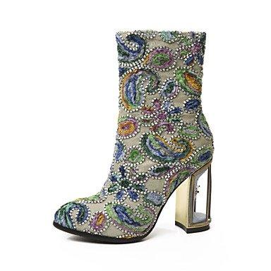 Heart&M Mujer Zapatos Cuero Invierno Innovador Botas de Moda Botas Tacón Robusto Dedo redondo Mitad de Gemelo Para Boda Vestido Verde Ejército army green