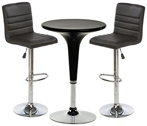 Displays2go 2 Black Leatherette Bars Stool Set with 1 Round Cocktail Highboy Table, Chrome Base/Stand
