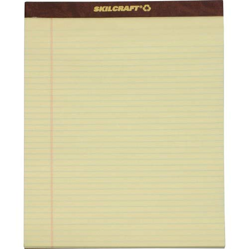 SKILCRAFT 7530-01-356-6727 Recycled Legal Pad, Letter Size, 8-1/2 x 11-3/4 Inch, Canary (Pack of 12)