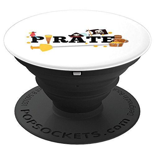 Pirate Themed Words Treasure Chest, Funny Cartoon Grip - PopSockets Grip and Stand for Phones and Tablets ()