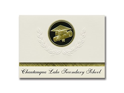 Signature Announcements Chautauqua Lake Secondary School (Mayville, NY) Graduation Announcements, Presidential style, Elite package of 25 Cap & Diploma Seal Black & Gold by Signature Announcements