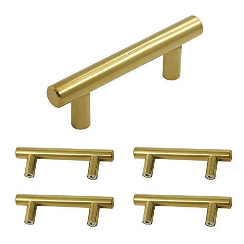 goldentimehardware oro clóset asas para muebles cocina Hardware acero inoxidable de acabado latón paquete de 5, Bar, Hole...