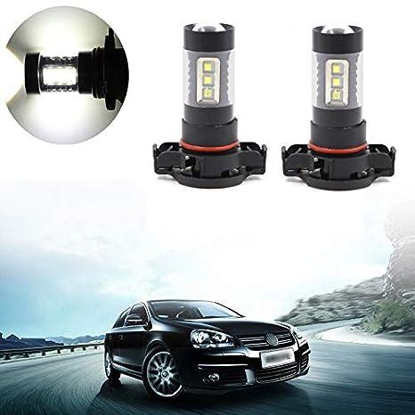 2pcs H10 9045 9145 9050 9155 Fog Light LED Bulbs High Power White 6000K 16 SMD 80W Super Bright Replacement Lamp for Fog Light