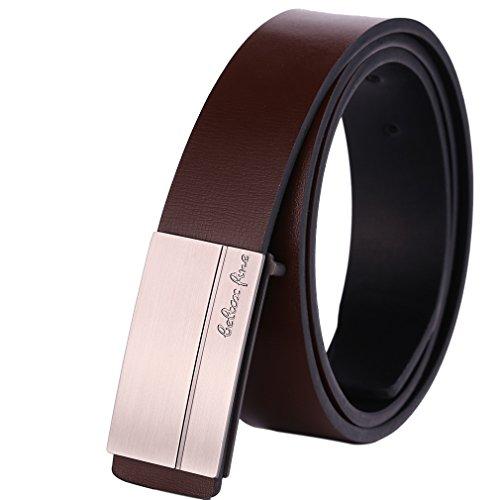 Beltox Fine Men's Genuine Leather Belts Plaque Buckle Belt Black and Light Brown (34-39, light brown)
