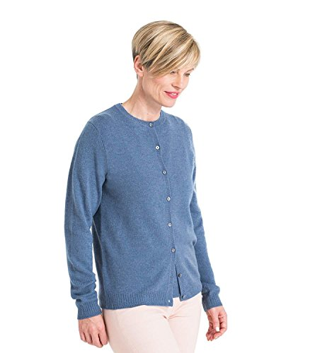 WoolOvers Womens Cashmere and Merino Twinset Plain Knitted Cardigan Bluebell, XL (Set Twin Cashmere Cotton)