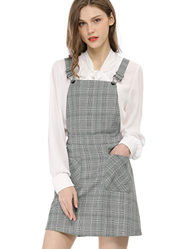 14546f3da5dd Allegra K Women's Plaids Adjustable Strap Above Knee Overall Dress Skirt