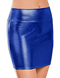 IBTOM CASTLE Women's Shiny Stretchy Metallic Liquid Wet Look Short Mini Skirt