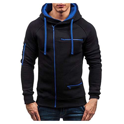 iLOOSKR Autumn Outdoor Sport Coat Men Comfy Solid Zipper Pockets Long Sleeve Coat Outwear Black