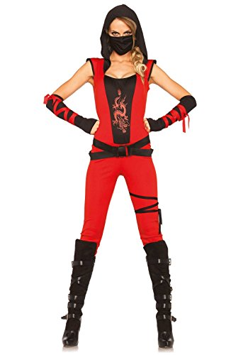 [Leg Avenue Women's Ninja Assassin Costume, Red/Black, Small] (Lady Reaper Costumes)