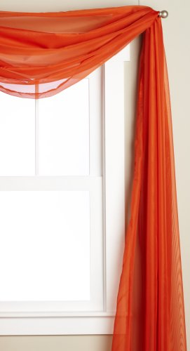 Editex Home Textiles Monique Sheer Window Scarf, 58 by 216-Inch, Orange (Scarf Window Coverings)