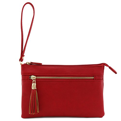 Tassel with Red Crossbody Double Compartment Wristlet Bag 1xRfqwSfH