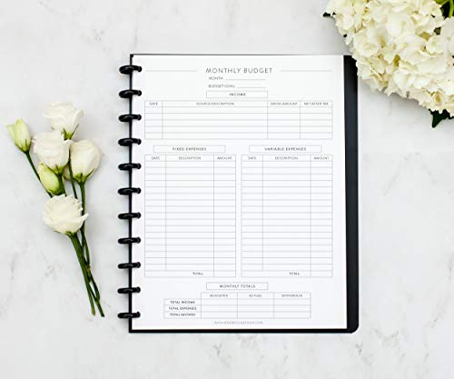 """Home Finance Kit for Letter Size Disc-Bound Notebook, Fits 11-Disc Levenger Circa, Arc Systems, 1 Year Supply, 8.5""""x11"""" (Notebook Not Included)"""