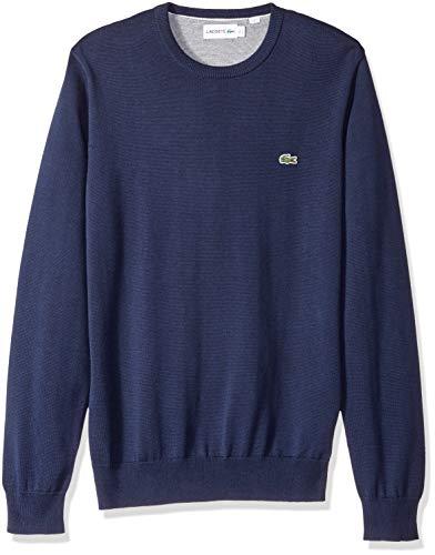 Lacoste Men's Long Sleeve Half Moon Crew Neck Jersey Sweater, Flour/Navy Blue, X-Large
