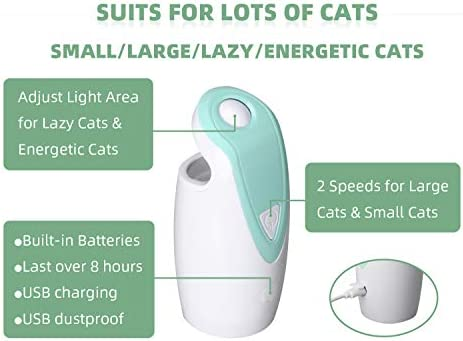 DAMGOO [2019 Safe for Eyes] Interactive Cat Light Toy Automatic Rotating Light Toys for Cats Electronic Toys for Exercise, Rechargeable,2 Speeds (Green) 4