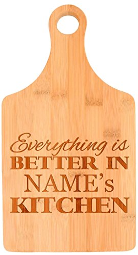 Custom Cooking Gift Enter Name Better Kitchen Personalized Paddle Shaped Bamboo Cutting Board ()