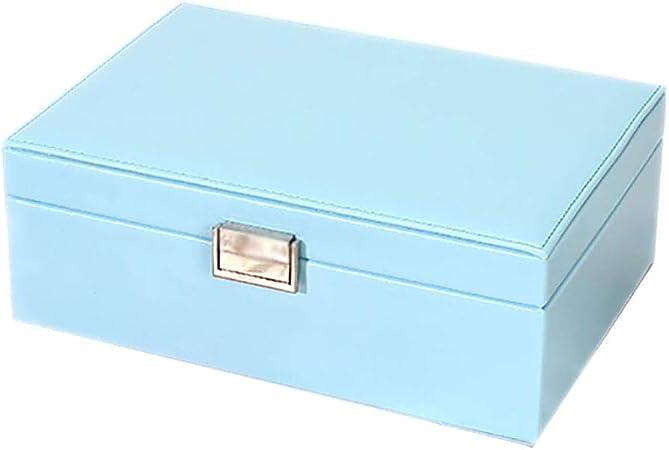 MIIAOPAI-Jewelry Box Joyero, Organizador De Joyas, con Espejo, Estuche De Viaje PortáTil, para Anillos, Aretes, Collares, Forro De Terciopelo (Azul Claro): Amazon.es: Hogar