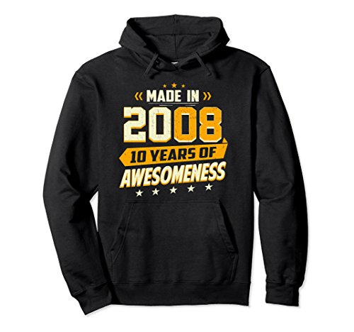 Unisex 10th Birthday Born In 2008 Vintage Retro Shirt Boy Girl Gift Large Black 2008 Kids Hoodie