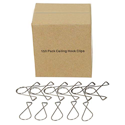 (EPG-Life 150 Pack Wire Ceiling Hook Clips T-Bar Hangers for Classroom, Office, Party, Stainless)