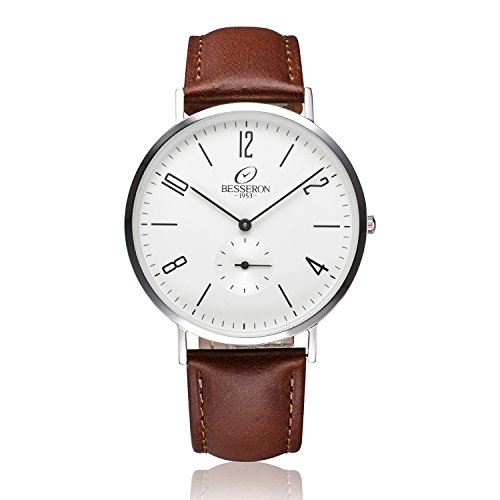 BESSERON Ultrathin Mens Wrist Watch with White Quartz Display Real Leather Brown Strap Father's Gift
