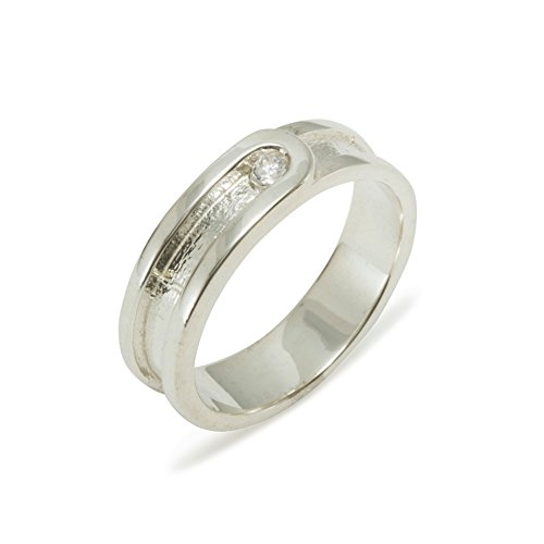 925 Sterling Silver Natural Diamond Mens Wedding Band Ring (0.04 cttw, H-I Color, I2-I3 Clarity) - Size 6.25