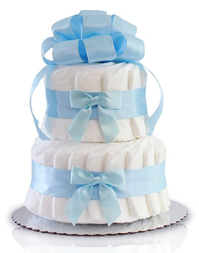 Classic Pastel Baby Shower Diaper Cake 2 Tier, Blue