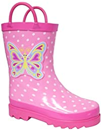 Puddle Play Kids Girls Butterfly Polka-Dot Printed Waterproof Easy-On Rubber Rain