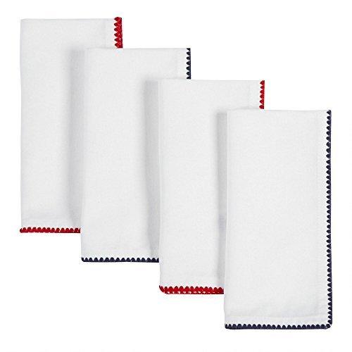 Nantucket Home Patriotic Pick-Stitch Cotton Napkins Set of 4 [並行輸入品]   B079VL6VWF