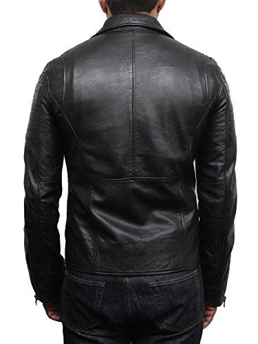 estilo de de negro de Chaqueta de moto moto Brando de los de cuero real chaqueta hombres motor Negro Brandslock de cuero xqwTIES8n