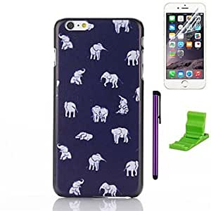 WQQ The Elephant Carpet Pattern PC Hard Case with Screen Protector,Stylus and Stand for iPhone 6
