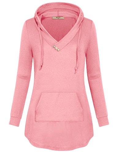 Miusey Pullover Hoodie Women, Ladies Jersey Knit Plain Sweatshirt Pleated Front Full Sleeve Flared Flowy Curved Hem Warm Soft A-Line Petite Hoody Tee Boutique Clothing Vneck Tunic Blouse Top Pink M