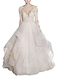Mr.ace Homme 2017 Sexy Illusion Sheer vestidos de novia Long Sleeve Ball Gown Wedding Dresses With Layered Skirt M0388