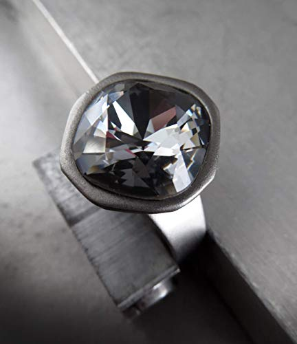 Black Night Crystal Ring with Swarovski Crystal, Charcoal Grey Adjustable - Charcoal Bezel
