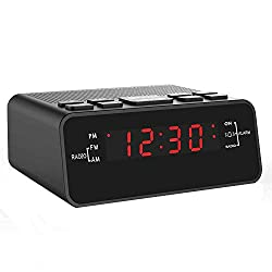 Jingsense Digital Alarm Clock Radio, Small Alarm Clocks for Bedrooms with AM/FM Sleep Timer Radio, 0.6 Red Digits LED Dimmer Display, Easy Snooze -Outlet Powered (Black-Red)