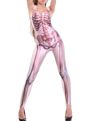 Pink Queen One-piece Galaxy Leotards Bodysuit Jumpsuits(Dark Pink Skeleton)