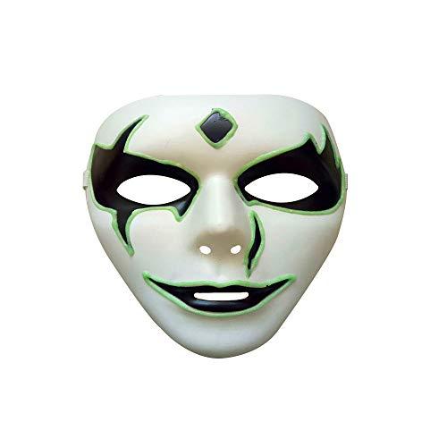 Stheanoo Luminous Mask for Halloween Party Face Shield Cosplay Costume Horror Skeleton Skull Full Face Mask for Carnival Festival Easter Party Cool Dress up Props -