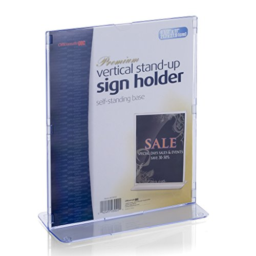 (Officemate Premium Higher Grade Upright Vertical Sign and Photo Holder, Letter Size 8 1/2 x 11 Inches, Clear (23022))