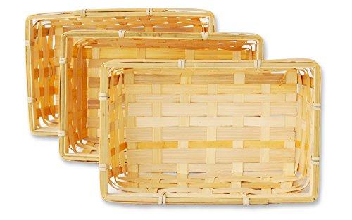 3er Korb Set rechteckige Bambuskörbchen, flacher Füllkorb ca. 20 x 12 x 6 cm, Spankorb natur