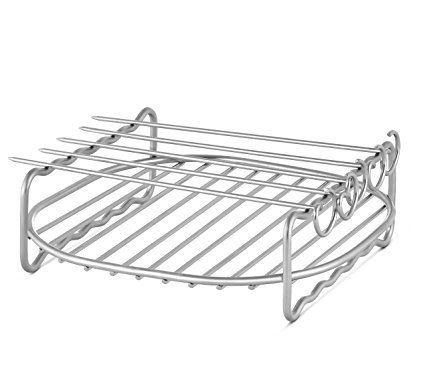 Airfryer Double Layer Rack XL with 5 Skewers Compatible with Philips Avance, X-Large, Silver
