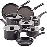 Farberware Neat Nest Space Saving Nonstick Cookware Pots and Pans Set/Dishwasher Safe, Made in The USA, 13 Piece, Black