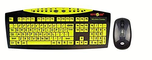 Keys-U-See Wireless Large Print Keyboard and Wireless Mouse Bundle Set (Keys U See) ()