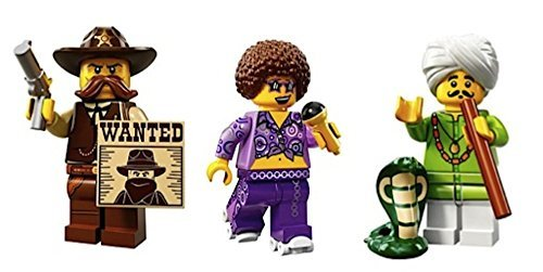 Western Sheriff, Roller Disco Diva, Snake Charmer: Lego Collectible Minifigures Series 13 Custom Bundle -