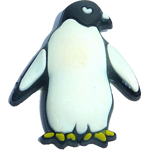 (Penguin Looking Sideways Shoe Rubber Charm for Wristbands and Shoes)
