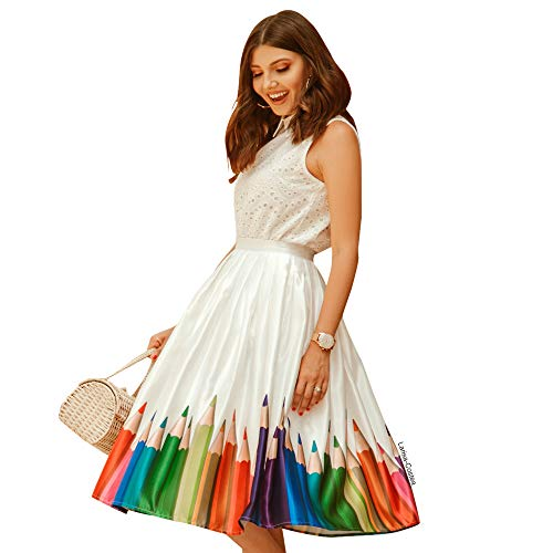 Chicwish Women's Colorful Pencil Printed High Waist A-line Midi Pleated Skirt by Chicwish