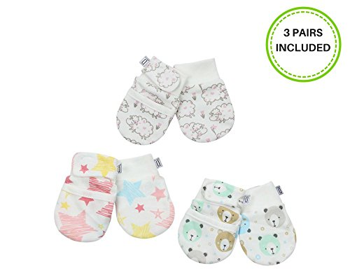 - Darlyng & Co.'s Anti-Scratch Newborn Baby Mittens (0-6 months) 3 pairs (Pink- Girl)