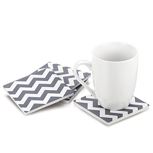 MIWARE Absorbent Stone Drink Coasters - 6 Packs Coaster Set, Grey Waves Style.