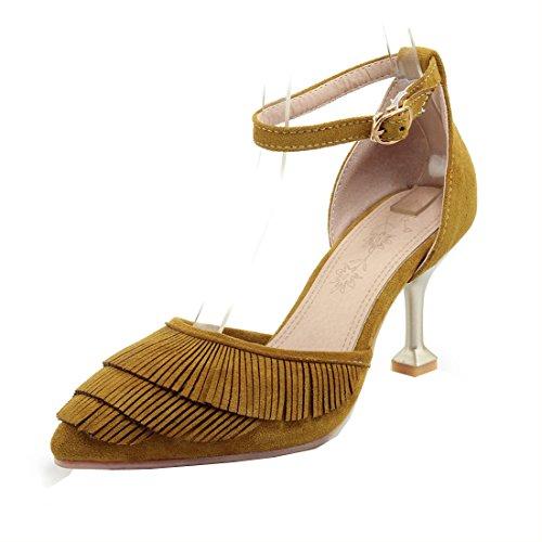 Escarpins YE Femme Bout Bride Pointu Boucle Aiguille Jaune Chaussures Frangs Cheville Talon Haut rrqWtFaEw