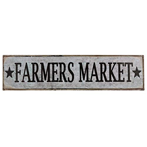 Barnyard Designs Farmers Market Retro Vintage Tin Bar Sign Country Home Decor 15.75