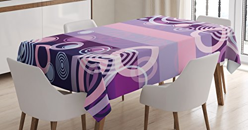 Border Big Bold (Ambesonne Geometric Tablecloth, Circles Rounds Bold Borders in Middle 70s 80s Vintage Decor, Dining Room Kitchen Rectangular Table Cover, 52 W X 70 L inches, Magenta Hot Pink and White)