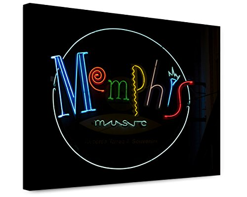 - ClassicPix Canvas Print 16x20: Memphis Music Neon Sign, Beale Street, Memphis, Tennessee.