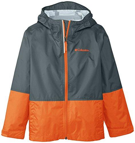 Columbia Big Boys' Trail Trooper Rain Jacket, Grill, Small